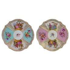 Pair Quatrefoil Dresden Style Small Porcelain Plates Pastoral Scenes Pink  and Light Turquoise