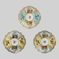 Set Three (3) Quatrefoil Dresden Style Small Porcelain Plates Pastoral Scenes Light Turquoise and Yellow