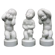 Set Three Danish Bing Grondahl Porcelain Children Figurines White - 20th Century, Denmark