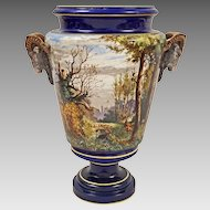 18 1/2 Inch French Majolica Ram Goat Handled Urn Cobalt Sarreguemines Monumental - c. 19th Century, France