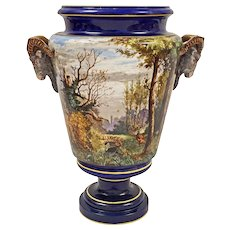 18 1/2 Inch French Majolica Ram Goat Handled Urn Cobalt Monumental - c. 19th Century, France