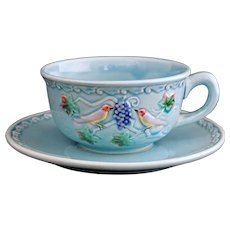 Pale Turquoise Majolica Cup Saucer Birds and Grapes Highmount M. B. D. - 20th Century, West Germany