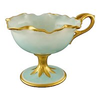 American Belleek Porcelain Blue Gilt Tall Stem Handled Footed Cup Signed - circa 1894-1906, USA