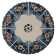 Imari Kangxi Mark Porcelain Scalloped Plate Blue, Red, Gilt