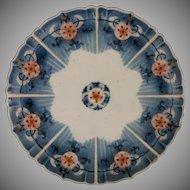 Imari Kangxi Mark Porcelain Scalloped Plate Blue, Red, Gilt
