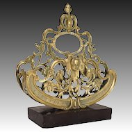 Bronze Figural Stand Mounted on Stone Base Shabby Chic