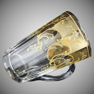 Antique Bohemian Crystal Measure Graduated Mug with Gilt Enamel Decoration - c. 19th Century, Bohemia