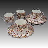 Aesthetic Polychrome Transferware Trellis 4 Demitasse Cup Saucer Set Antique Porcelain - 1889, England