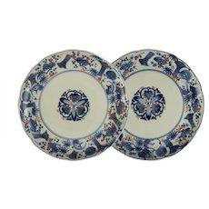 Pair Japanese Antique Shoki Imari Dish Plate Fuku Mark - Edo Period, Japan