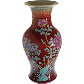 Chinese Painted Enamels Copper Red Glaze Baluster Vase Celadon Crackle Sang de Boeuf Oxblood - late Qing, China