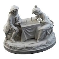 Child Chess Player Parian White Porcelain Group Figurine Volkstedt Triebner Ens Mark - 1894 to 1900, Germany