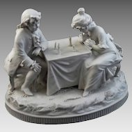 Antique Children Playing Chess Group Figurine Biscuit Parian Volkstedt - 19th Century, Germany