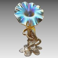 Antique Loetz Flower Shape Art Glass Vase Iridescent Gold - c. 1890-1900's, Austro-Hungarian Empire / Bohemia