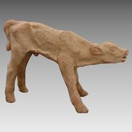Danish Limited Edition N° 29/200 Mid Century Modern Unglazed Clay Sculpture Standing Calf Therese Lucheschitz Figure - c. 1940, Denmark