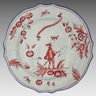 French Provencal Style Faience Plate Fisherman Red White Blue - c. 1940, Argentina