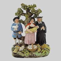 Old Crown Derby Large Tithe Pig Group Bocage Figurine Signed - 19th Century, England