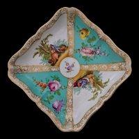 "Dresden Quatrefoil Square Bowl by Carl Thieme Large 7"" - c. 19th Century, Germany"