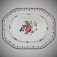 18th Century Famille Rose / Lowestoft Enamel on Porcelain Chinese Export Platter Antique