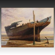 Maritime Watercolor Ship Painting Signed by Artist Monogram