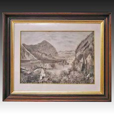 Antique Americana Primitive Schoolgirl Folk Art Drawing of River in Walnut Frame 28.5 x 23.5  -  19th Century, USA
