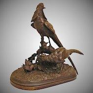 Monumental Antique French Bronze Sculpture Animalier Pheasants signed Lechesne Sculp, L. Martin Fondeur - 19th Century, France