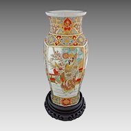 Large Satsuma Earthenware Vase Meiji Warriors - c. 19th Century, Japan