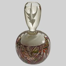 "Large 7"" Art Glass Paperweight Perfume Bottle Antler Stopper"