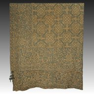 Antique Embroidered Linen Large Panel / Bed Hanging / Curtain - c. 19th Century