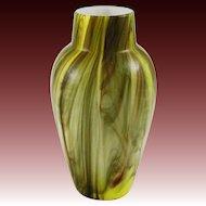 "Bohemian Marmoriertes Green Onyx Art Glass Vase 8"" Tall - c. 1910, Bohemia"