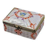 French Trinket / Dresser Box Bronze Mount Porcelain Rectangular Double L Mark