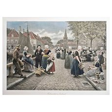 "27.5"" Large Dutch Fish Market Color Photogravure Signed Houben - c. 1914, Austria"