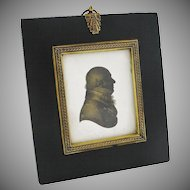Antique Miers & Field Silhouette Miniature Portrait of Gentleman in Profile - c. 1800's, England