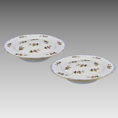 Antique Pair French Old Paris Porcelain Compotes Footed Plates Clain Perrier  - c. 1900's, France