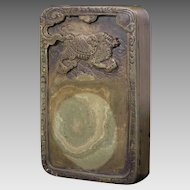Chinese Inscribed Scholar Inkstone Green Rectangular Dragon