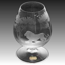 Rowland Ward Nairobi Kenya Brandy Snifter Crystal Hand Etched Lion Big Game Theme - 20th Century, West Germany