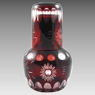 Red to Clear Bohemian Glass Tumbler & Pitcher - c. 1900's, Bohemia