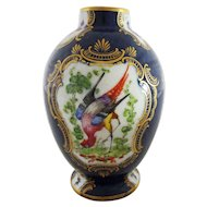 Scale Blue, Exotic Birds and Insects Pattern Porcelain Vase / Canister / Tea Poy - England