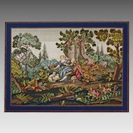 41 x 30 Large Needlework Picture of Courting Scene in Pastoral Setting