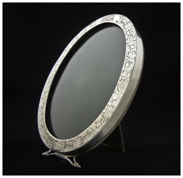 Antique Sterling Oval Picture Frame C 19th20th Century Usa