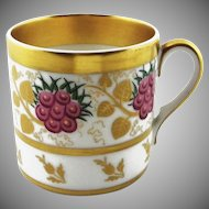 Vista Alegre Portuguese Cup Coffee Can Gilt Flora Motif - c. 1940's, Portugal