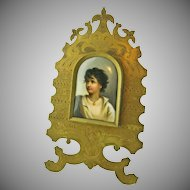 Miniature Portrait Painting on Porcelain of Young Neapolitan after Gustav Richter