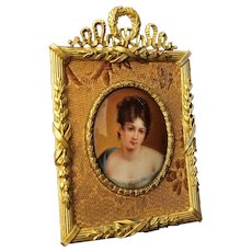 Miniature Portrait Painting on Porcelain of Madame Recamier after Francois Gerard - 19th Century, Germany