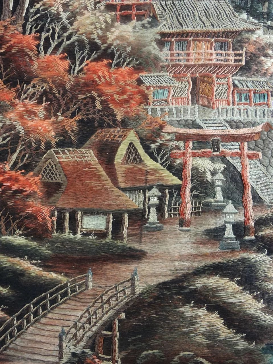 Large 82 Quot X 56 Quot Japanese Meiji Embroidered Silk Wall