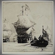 The Return of the Fleet Etching signed Norman Wilkinson - 20th Century, England
