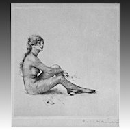Etching Sitting Nude Signed by artist Carl Josef Bauer - 20th Century, Germany