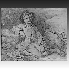 Original Antique Drawing Seated Boy Signed by Artist Nicholas Toussaint Charlet - early 1800's, France