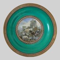 Pair of Antique Prattware Plates Color Transferware Rustic Scenes - 19th Century, England
