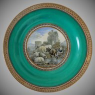 Pair of Antique Prattware Plates Color Transferware Rustic Scenes - 19th Century, England