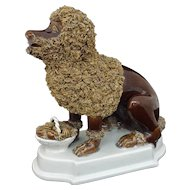 Antique Ceramic Dog Plinth Base Large Brown Figure Nove di Bassano Style