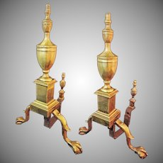Solid Brass Pair of Handmade Colonial Style Andirons Hallmarked Cray - c. 1940's, USA